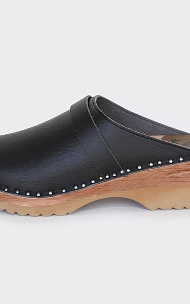 DA VINCI BLACK VEGAN SWEDISH CLOGS